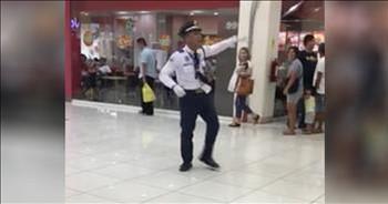 Dancing Mall Cop Entertains Shoppers