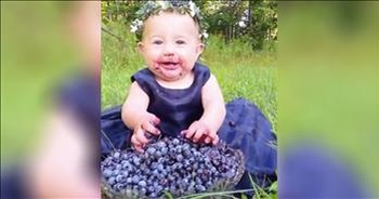 Baby Cannot Get Enough Blueberries