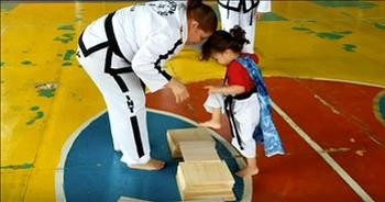 3-Year-Old Karate Cutie Cannot Break Board