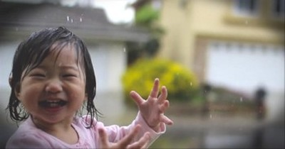 Sweet Toddler Dances in the Rain...For the First Time Ever