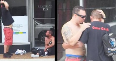 At 2:50, This Stranger Does The Most Incredible Thing For One Homeless Man. This One Got Me.