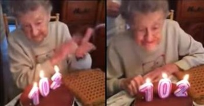 102-Year-Old Blows Out Birthday Candles In The Funniest Way