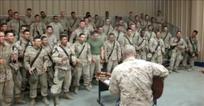 Group Of Marines Sing 'Lord, I Lift Your Name On High'