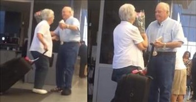 Elderly Man Surprises Wife With Flowers At Airport