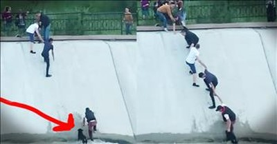 Strangers Form Human Chain To Rescue Stuck Dog