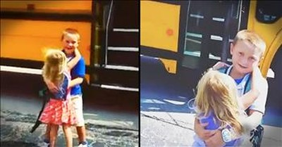 Little Sister Hugs Big Brother When He Gets Off The Bus