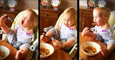 Inspiring Toddler With No Arms Learns To Fed Herself