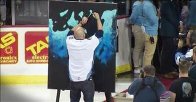 Man Sings The National Anthem While Speed Painting