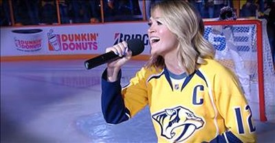 Carrie Underwood Sings The National Anthem For Husband
