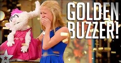 Singing 12-Year-Old Ventriloquist Earns Golden Buzzer