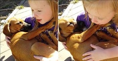 Sweet Girl Sings Lullaby To Rescue Pup