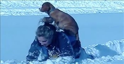 Funny Dog Rides On Owner's Back To Avoid Snow
