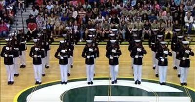 24 Marines Of Silent Drill Platoon Perform Unforgettable Routine