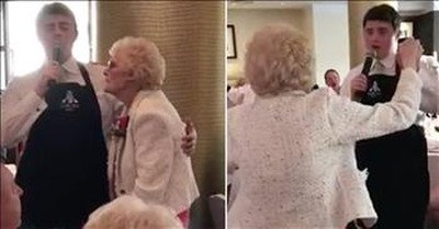 Singing Waiter Serenades Grandma And Moves Her To Tears