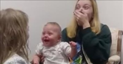 Deaf Baby Hears Sister's Voice For The First Time And Cannot Stop Laughing