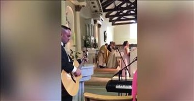 Daughter Sings At Mom's Wedding As She Walks Down The Aisle