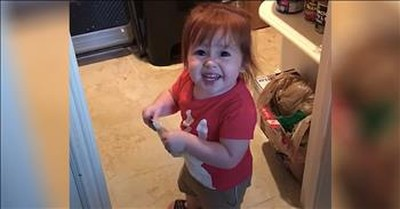 2-Year-Old Hilariously Throws Dad's Healthy Snack In The Trash