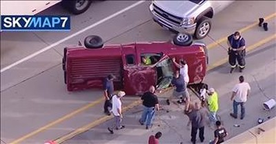 Good Samaritans Rescue Trapped Driver After Car Accident