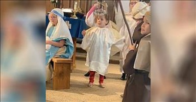 Angel Gets In The Christmas Spirit During Church Nativity Play