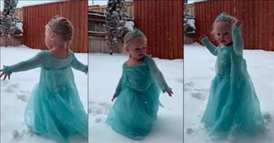 Little Elsa Sings 'Let It Go' After Finally Getting Snow