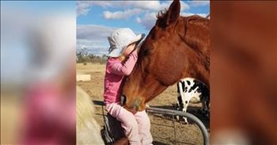 Adorable 3-Year-Old Serenades Her Horse To Sleep