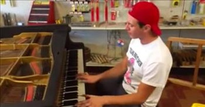 Random Guy Plays Honky-Tonk Song On Piano In Hardware Store