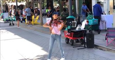 Tween Violinist Performs Frank Sinatra's 'My Way' On Street Corner