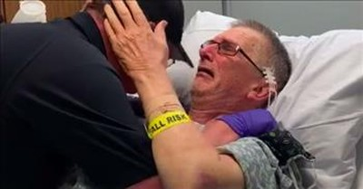 Paramedic Son Surprises Dad In Hospital And They're Both Moved To Tears