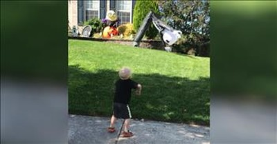Little Boy Has Cutest Dance-Off With Inflatable Lawn Decoration