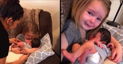 Toddler Cries Happy Tears After Holding Baby Cousin For The First Time