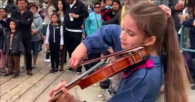 Crowd Forms Around Teen Violinist Playing 'A Thousand Years' On The Street