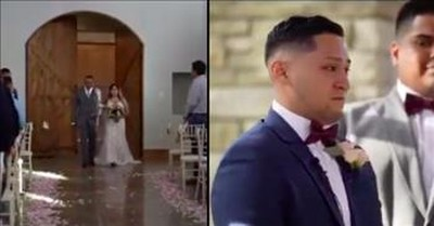 Groom Breaks Down As Bride Walks Down Aisle to Hillsong 'Oceans'