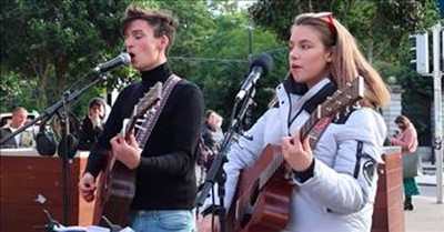 Teen Street Buskers Perform Michael Buble's 'Feeling Good'