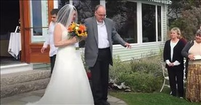 Father In Wheelchair Stands To Walk Daughter Down The Aisle