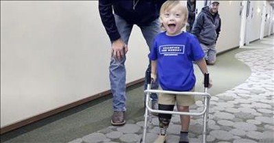 2-Year-Old Amputee Toddler Takes First Steps