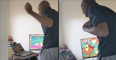 Wife Catches Teacher Husband In Adorable Dance Party Before Virtual Class