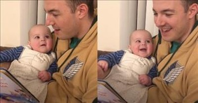 Baby Cracks Up Over Dad's Disney Voices During Storytime