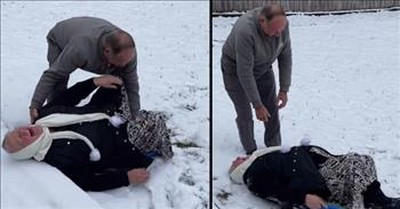 Grandma Hilariously Fails Trying To Sled Down Hill