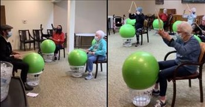 Retirement Home Goes Viral For Amazing Drum Exercise Class
