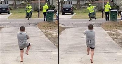 Sanitation Worker And 4-Year-Old Have Sweet Dance Off