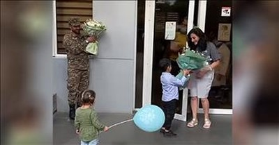 Military Husband Surprises Wife At Hospital After She Gave Birth Alone