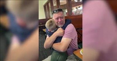 Grandpa Cries During Surprise Reunion With Grandson At Restaurant