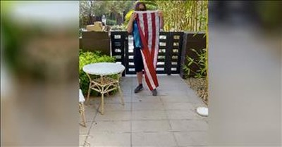 Ring Camera Captures Delivery Driver Folding Fallen American Flag