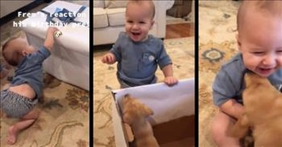 Baby Boy Is Over The Moon After Receiving Furry Birthday Present
