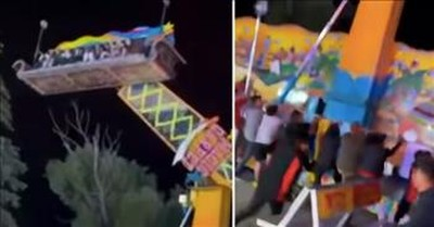 Strangers Rush To Help Carnival Riders When Ride Starts To Tip Over