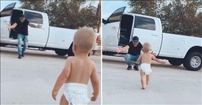 Every Day Baby Waits For Dad To Come Home And Gives Him A Big Hug