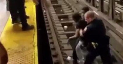 Officer And Strangers Save Unconscious Passenger On Subway Tracks