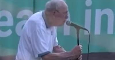 96-Year-Old Veteran Sings The National Anthem At Baseball Game