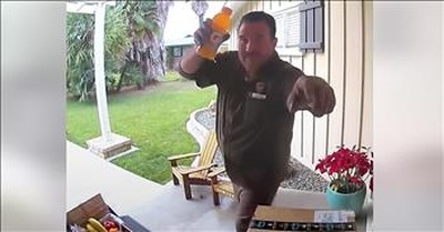 Doorbell Camera Captures Delivery Drivers Reactions To Gifts Left On Front Porch