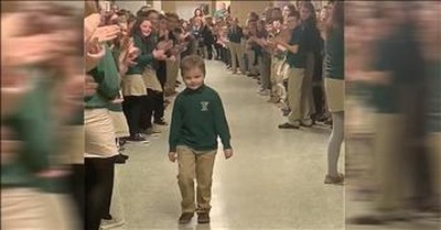 Cheers Erupt When 6-Year-Old Returns To School After Beating Cancer